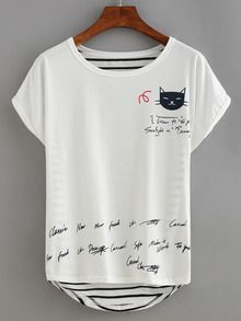 Cat Print Striped Back T-shirt - White