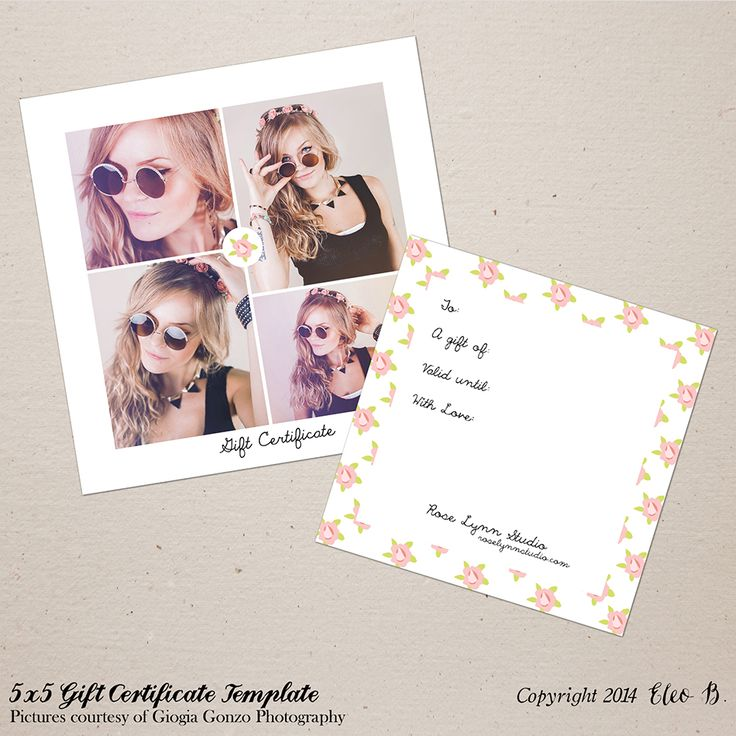5x5 Photography Gift Certificate - Photoshop Template - M018 - instant download  SHOP AT: etsy.com/shop/eleob SEARCH WITH THE CODE    Pictures by Giorgia Gonzo Photography  Model Suzana