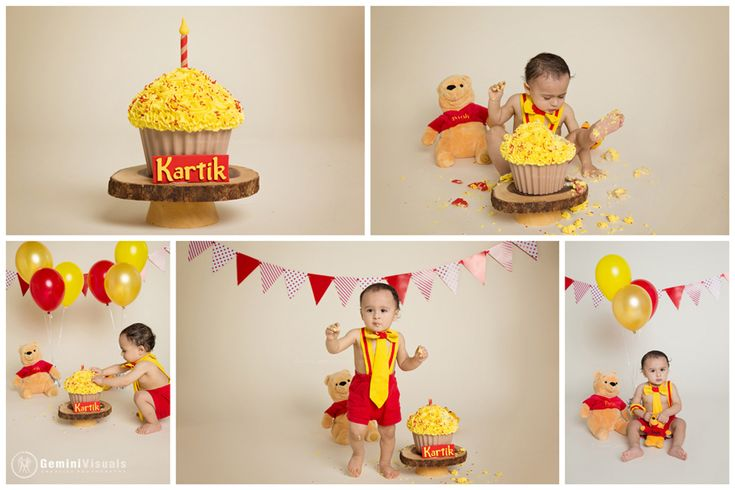 Winnie the Pooh Cake Smash Session in White Rock Gemini Visuals Creative Photography // White Rock/South Surrey, BC, Canada // www.geminivisuals.com |