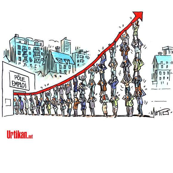 Inversion de la courbe du chômage : le pari perdu de François Hollande - Dessin du jour - Urtikan.net