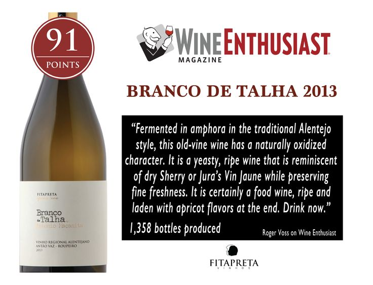 """One of my all time favorite! A remarkable wine! Branco de Talha 2013 - 91 pts Wine Enthusiast  """"... It is a yeasty, ripe wine that is reminiscent of dry Sherry or Jura's Vin Jaune while preserving fine freshness...""""  www.fitapreta.com  #whitewine #talha #amphora #wine #alentejo #portugal #wineenthusiast #winelover"""