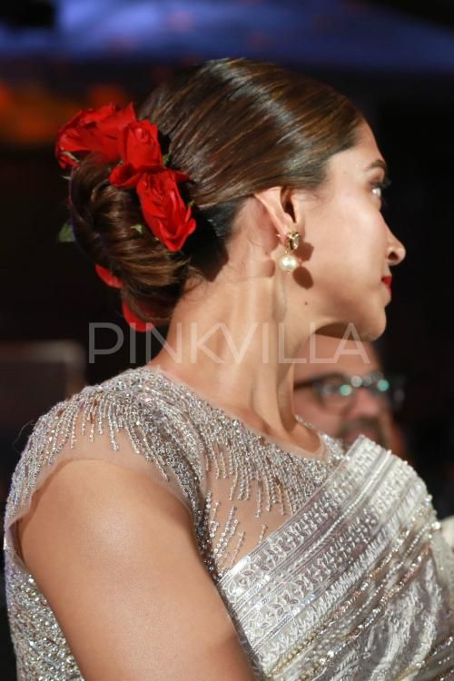Red Roses and a Sparkly White Saree Added to Deepika's Charm Today! | PINKVILLA