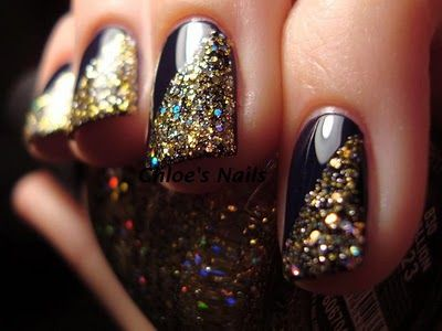 Gold Sparkle + Navy Nails