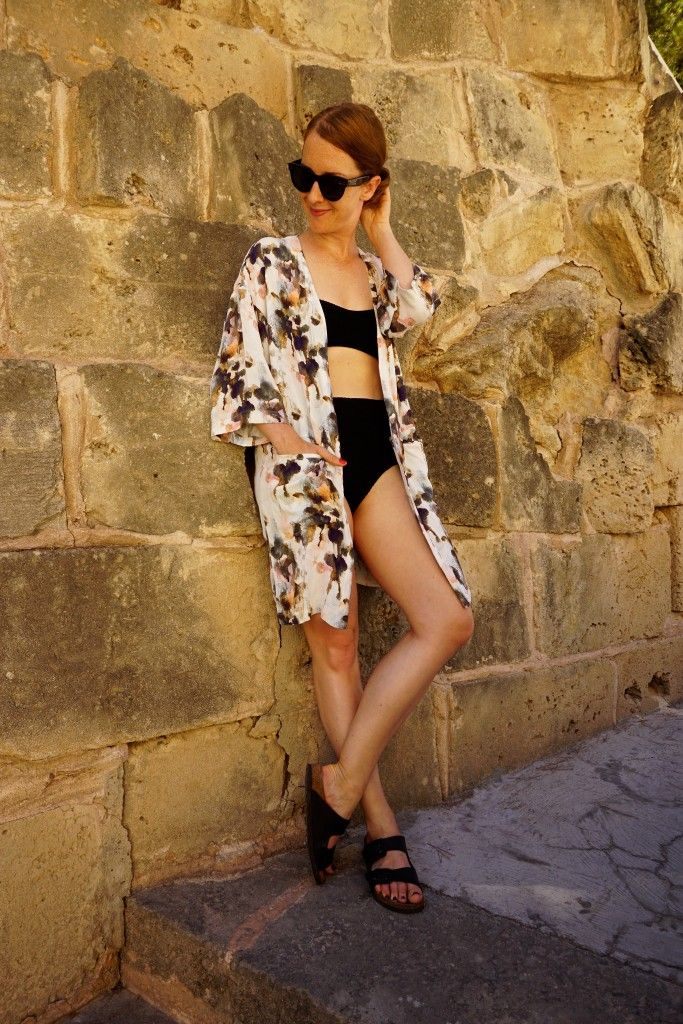High waisted bikini from Weekday and kimono from mbyM