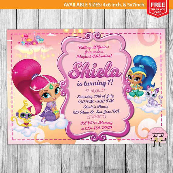 Shimmer And Shine Invitations Shimmer And Shine Birthday