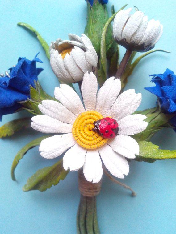 Jewelry brooch jewelry leather flower brooch by DreamsAboutSummer