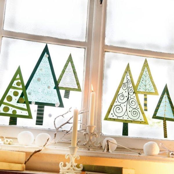 Window trees, Tonpapier ausschneiden, Transparentpapier aufkleben und verzieren by morgan