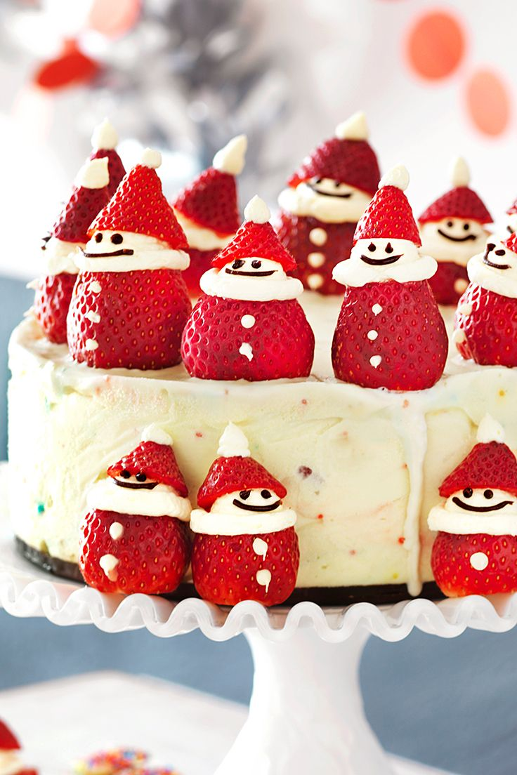 This adorable Christmas-themed cake is perfect for festive celebrations. The cream-filled strawberry Santas will be a favourite with the kids, plus the creamy ice-cream filling, of course.