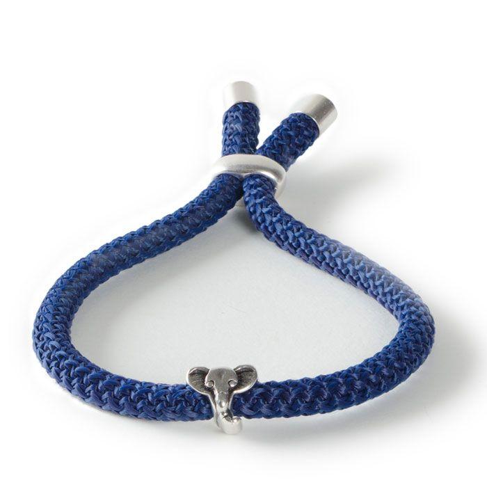 Elefantenstarkes Armband mit Schiebeverschluss, Kordel und Metallperlen.