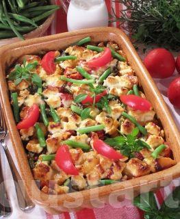 Zöldbabos-húsos rakott krumpli