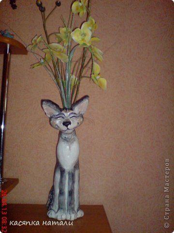Мастер-класс Поделка изделие Лепка Восточный кот статуэтка-ваза из бутылки Бутылки стеклянные Тесто соленое фото 7