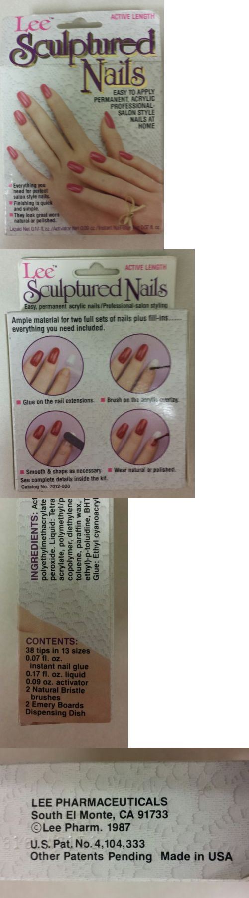 Press-On Nails: Lee Sculptured Nails! Vintage Pack Of 38 Active Length Nails! Unique Old Item! -> BUY IT NOW ONLY: $49.99 on eBay!