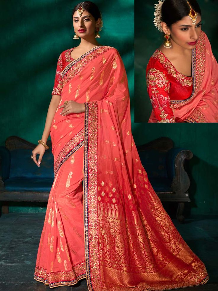 Radiant dark peach, red pure viscose saree with worked patch border is pleasing appearance. Outfit is feminine and cute in appearance.