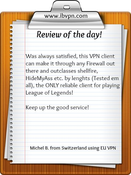 Review of the day! See all the reviews or add your own review here: http://www.ibvpn.com/reviews/?c=all #vpn