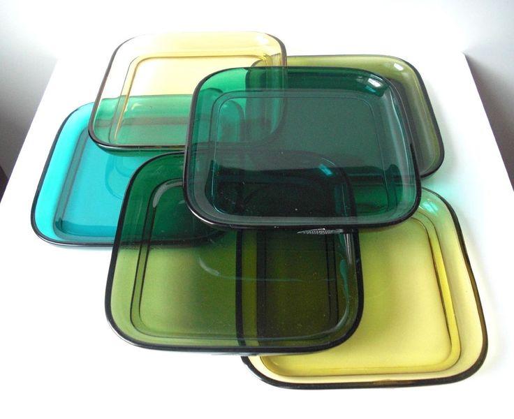 Kaj Franck NUUTAJARVI NOTSJO FINLAND Plates (6) +original box 60s in Pottery, Porcelain & Glass, Glass, Art Glass | eBay