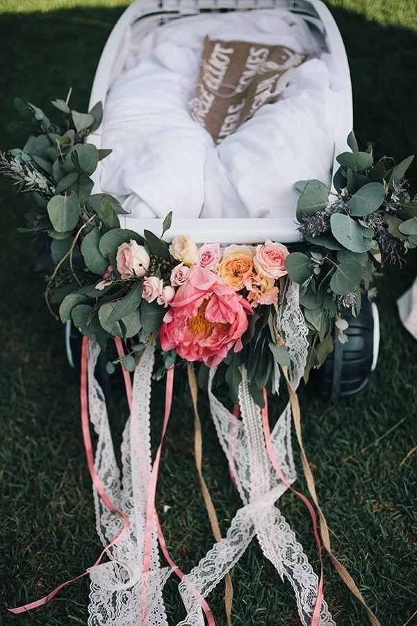 baby ring bearer wagon and grey bridesmaid dresses