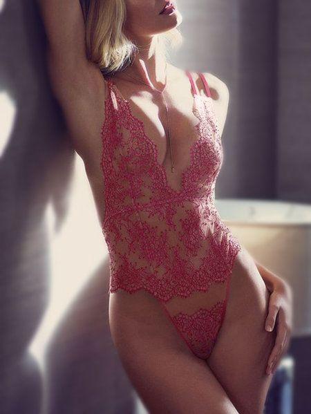 b24c694632 Red Spaghetti Sheer Lace Backless Teddy Bodysuit