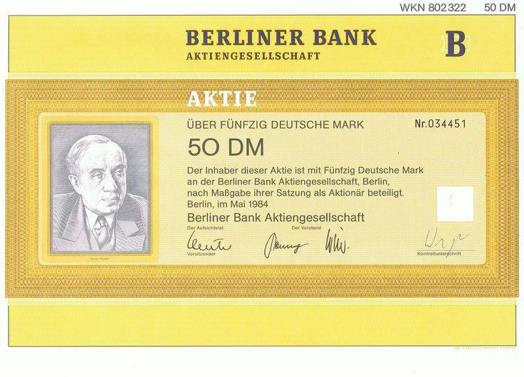 Aktie entwertet Berliner Bank WKN 802322 50 DM # 034451
