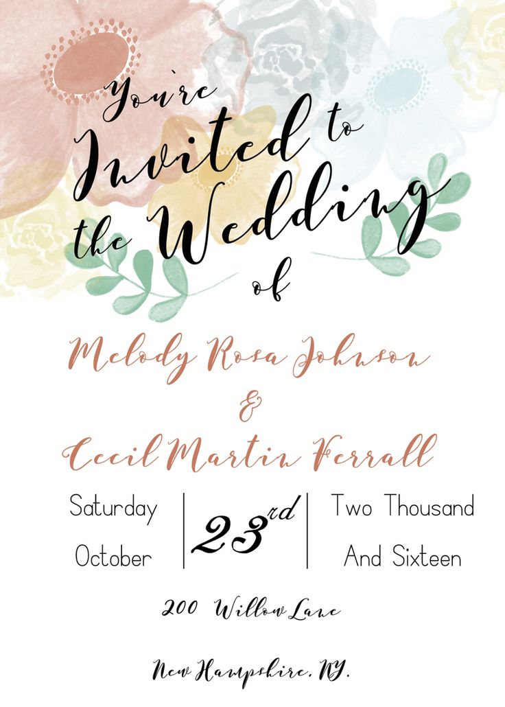 Simply Jane Wedding Invitation   Pixel Design Studio   floral   modern   rustic  