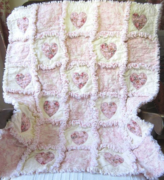 Baby Girl Quilt Shabby Roses Applique Hearts Rag Quilt Cottage Chic