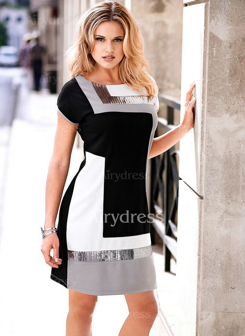 Dress - $19.56 - Polyester Color Block Short Sleeve Knee-Length Dresses (1955144969)
