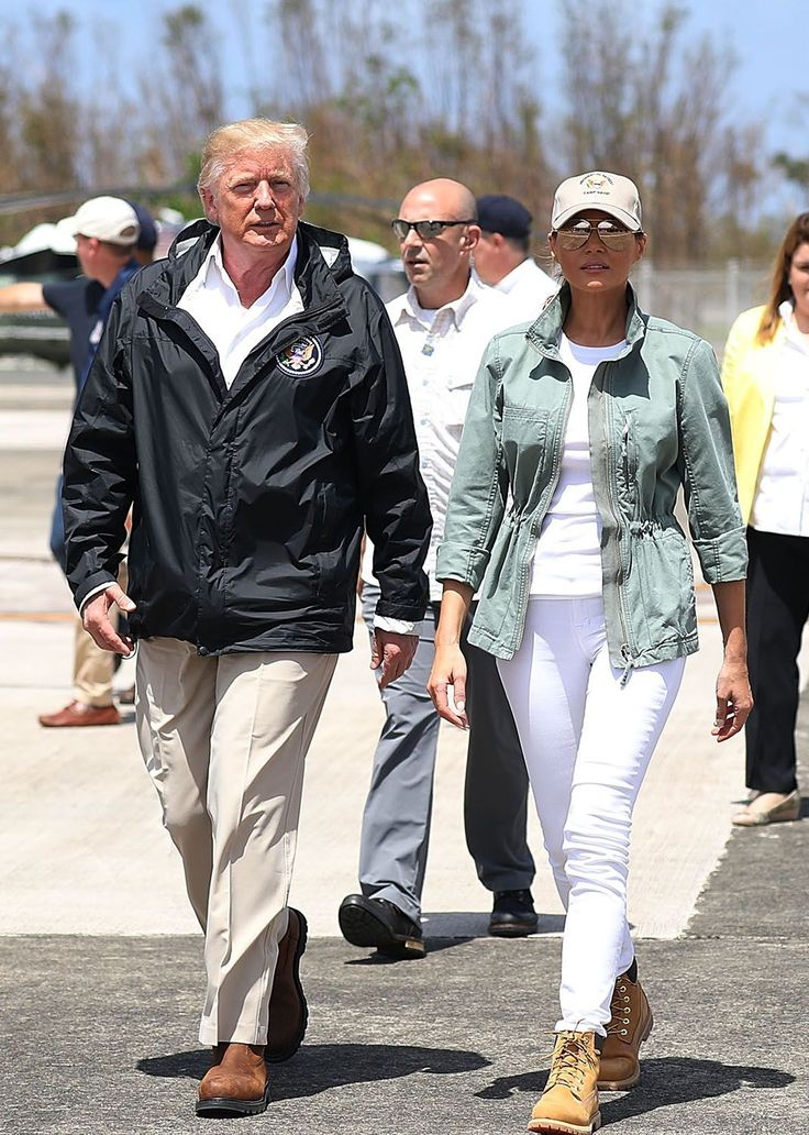 Melania Trump changed into Timberland boots before landing in Puerto Rico, a move perceived by some on social media as contrived.