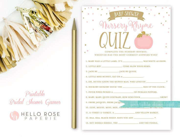 Pink and Gold Pumpkin Baby Shower Games Printable . Nursery Rhyme Quiz Game . Instant Download . Baby Shower Game Girl . Pumpkin on the way by hellorosepaperie on Etsy https://www.etsy.com/listing/546440760/pink-and-gold-pumpkin-baby-shower-games