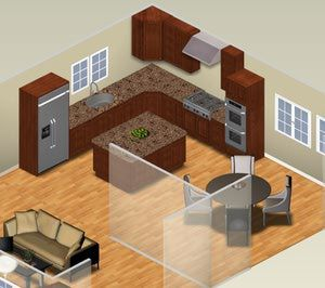 Get small kitchen plans you can use directly from Autodesk Homestyler.: L-Shaped Traditional Small Kitchen Plan (3D)