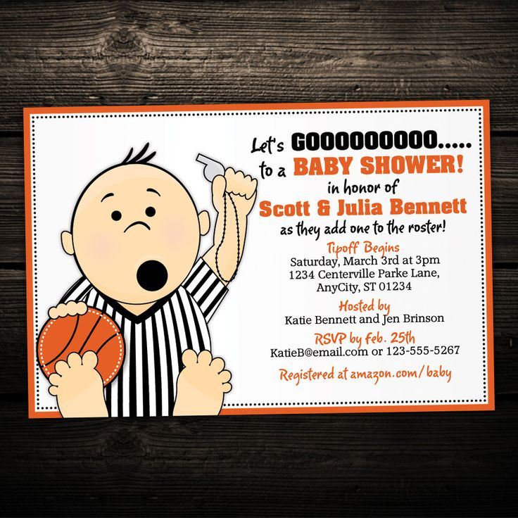 free printable camo baby shower invitations templates%0A Basketball Referee Tailgate Printable Baby by LittleBeesGraphics