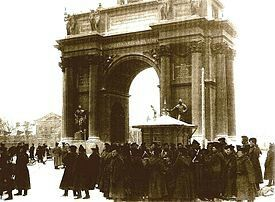 "-Soldiers blocking the entrance to Narva Gate on ""Bloody Sunday""; Russia 1905.- The Russian Revolution of 1905 was said to be a major factor to the February Revolutions of 1917. The events of Bloody Sunday triggered a line of protests. A council of workers called the St. Petersburg Soviet was created in all this chaos, and the beginning of a communist political protest had begun."