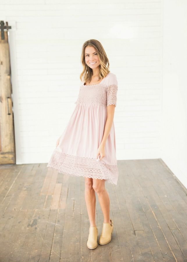 """The Dainty Lace Midi Dress in Blush is a gorgeous midi dress! from it's unique neckline all the way down to it's dainty lace design it will sure be a classic. Our Dainty Lace Midi Dress in Sea Foam features a beautiful short-sleeve design, and with it's """"peep hole"""" back you will for sure be a winner in this spring attire. Pair our midi with wedges or sandals, and you are set for spring. 