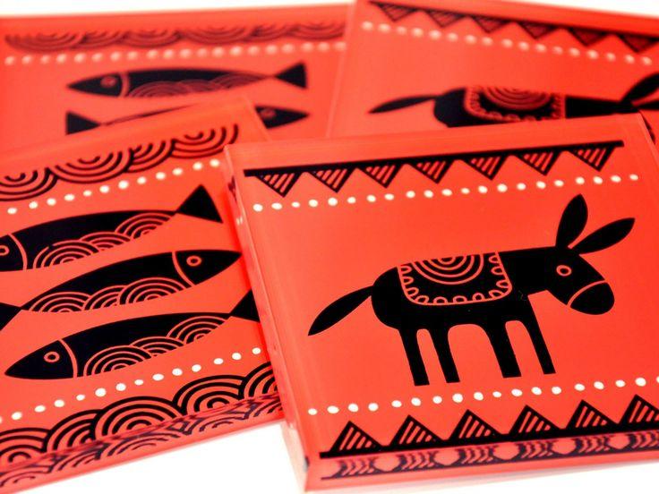 Fishes & donkey   Plexiglass coasters   screenprinted & lazer cutted