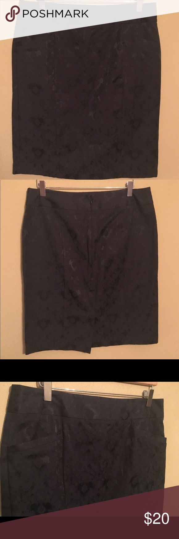 Oliva & Martin lace skirt This is a size 12 lace inlay skirt. The lace is attached to the cotton polyester fabric. Two front pockets, zipper and hook and eye closure in the back. Also a back slit.   Great condition! Oliva and Martin Skirts