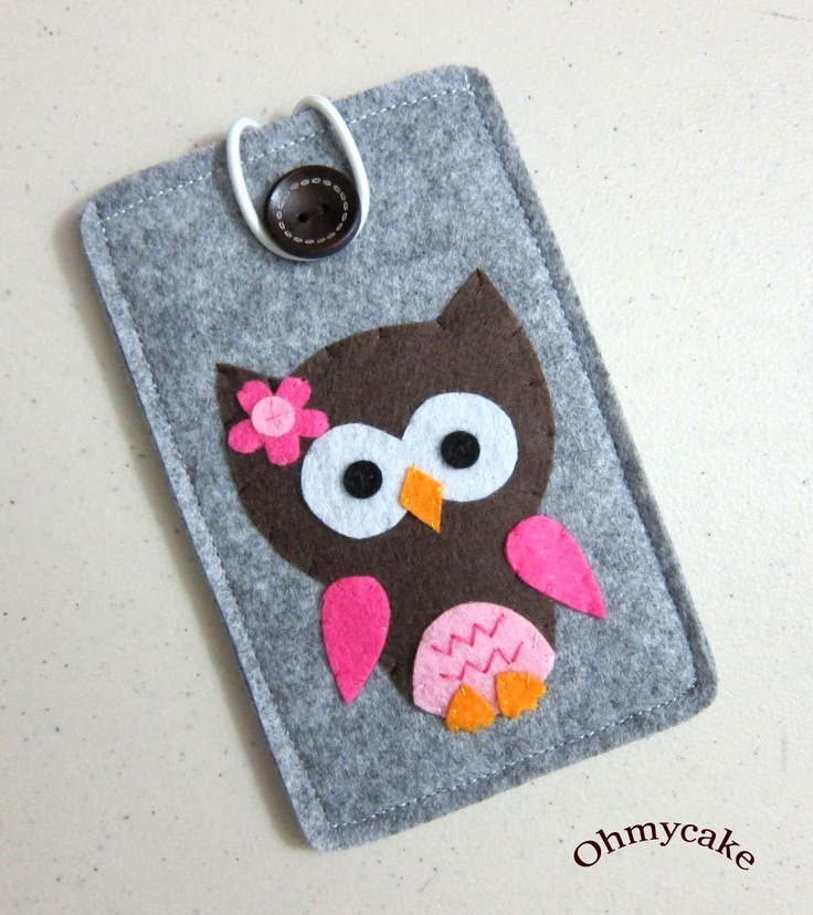 "iPhone Case - Cell Phone Case - iPhone 4 Case - iPod Case - iPod Touch Case - Handmade iPhone Felt Case - "" Chocolate  pink Owl "" Design. $18.00, via Etsy."