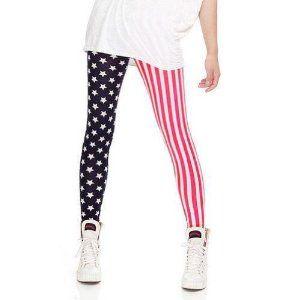 LOCOMO Women American US Flag Star Pattern Vertical Striped Legging FFT121