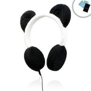 Amazon.com: PANDAmonium Crocheted Panda Ear Stereo Headphones for Apple iPhone 5 , iPad Mini , iPod Touch and Many More Apple Products! ** Includes Accessory Bag and Microfiber Cloth! **: Electronics