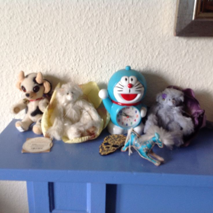 More mantelpiece stuff including a doeramon a Merrythought and a pair of Dean's Rag bears