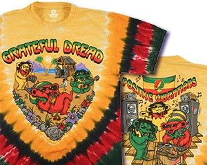 Grateful Dead - Positive Vibrations Tie Dye T-Shirt  Feel the positive vibrations when you wear this rasta inspired Grateful Dead Tie Dye. The dancing bears look like they are chillin' down in Jamaica. Officially licensed Grateful Dead merchandise. #sunshinedaydream #hippieshop