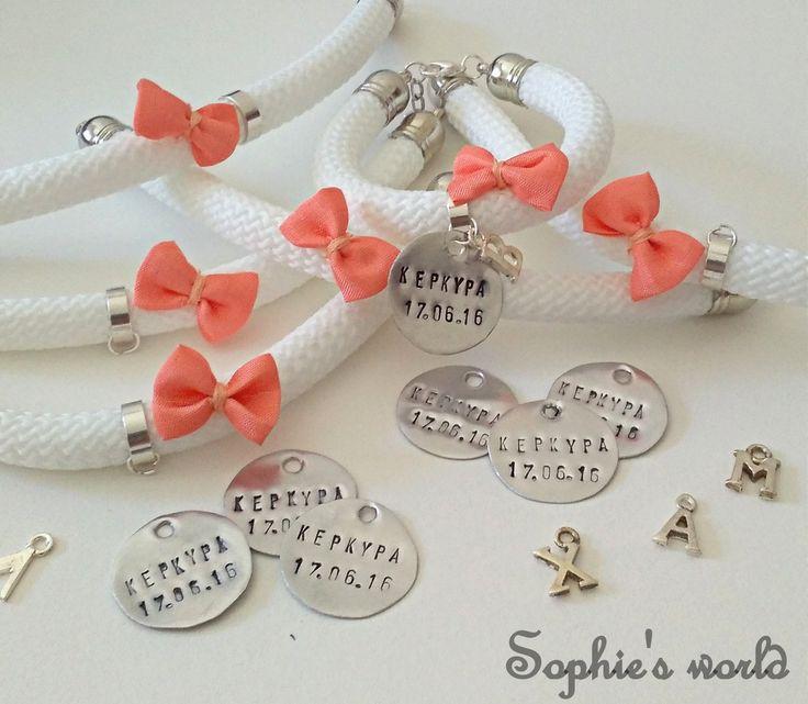 αναμνηστικά bachelorette bracs bow and stamped letters για την νύφη &τις φίλες της! #bridetobe #wedding #accessories https://www.facebook.com/SophiesworldHandmade/