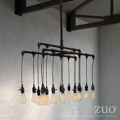 """98268 63"""" Maldonite Ceiling Lamp with Three Layers of Sleek Bulbs and Rust Black Pipes Steel"""