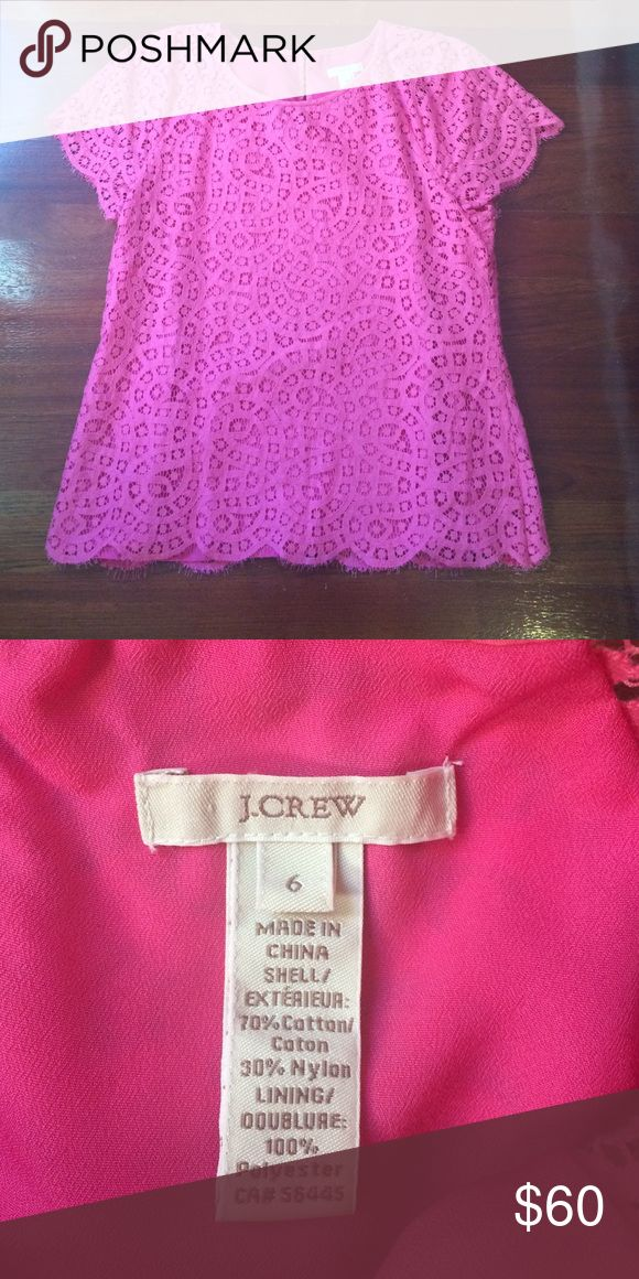 J Crew Hot Pink Lace Tshirt I will accept any offer with the button :) It has a lining and slight fringe on the scalloped edges.  If you have questions ask away! I ship the same day unless the post office is closed. Then I will ship the next day the post office is open. I DO NOT TRADE. J. Crew Tops Tees - Short Sleeve