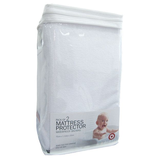 2 Pack Cot Terry Mattress Protector