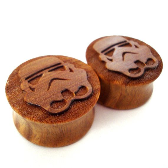 plugs | Lignum Vitae wood // Star Wars stormtroopers detail // 0g // by EarEmporium // $34.00