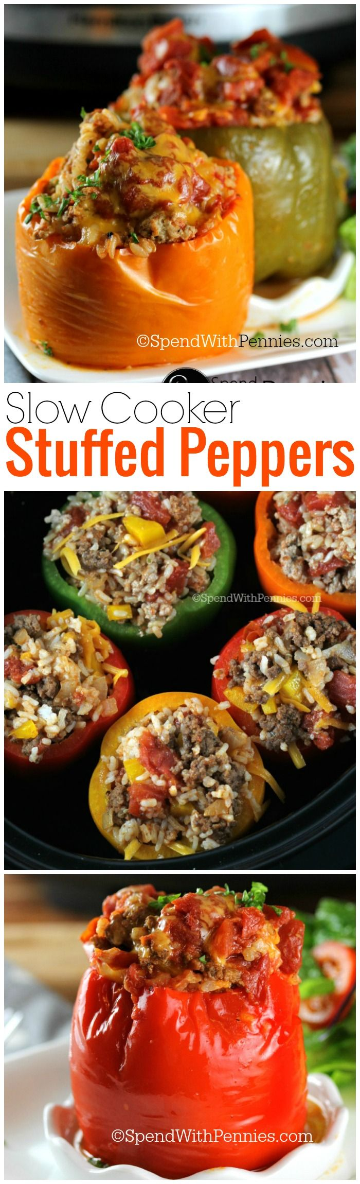 Slow Cooker Stuffed Peppers!  These are deliciously easy to make!