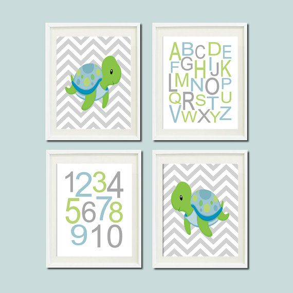 Baby Boy Nautical Turtle Chevron Ocean Sea Animal Alphabet Numbers Set of 4 Prints Boy Nursery Crib Bedding Bathoom Wall Art Decor Picture