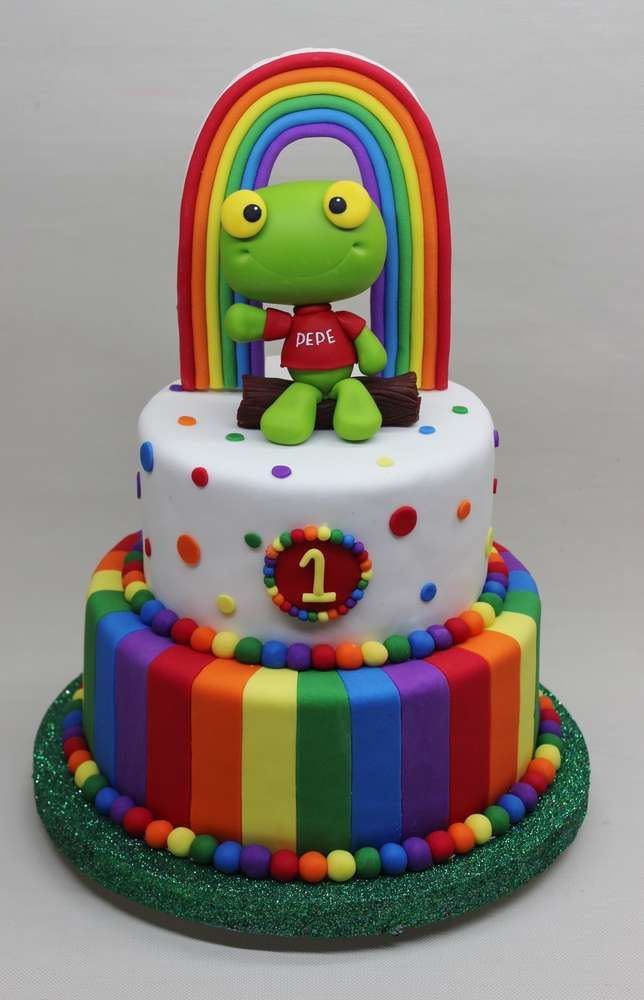 Sapo Pepe Birthday Party cake!  See more party planning ideas at CatchMyParty.com!