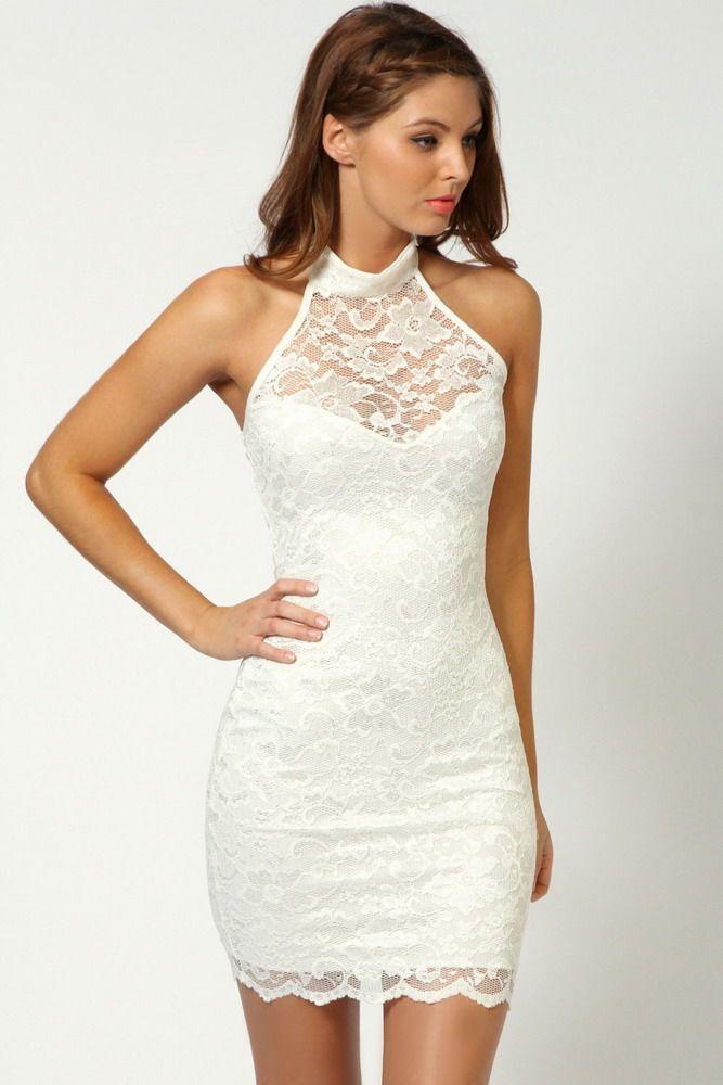 Elisa Sweetheart Halterneck Lace Dress White