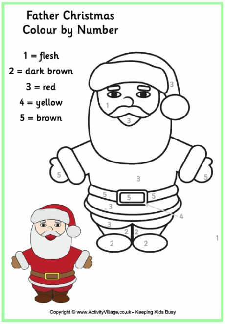 colour by numbers father christmas - Santa Claus Color Pages 2