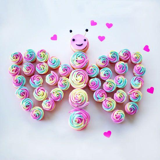 Beautiful Rainbow Butterfly Cupcakes Cake