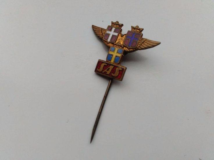 SAS Airlines Scandinavian Vintage Enamel Badge Sweden Norway Denmark